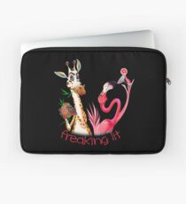 Party Time Freaking Lit Giraffe and Flamingo  Laptop Sleeve