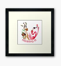 Party Time Freaking Lit Giraffe and Flamingo  Framed Print