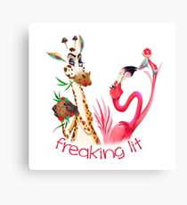 Party Time Freaking Lit Giraffe and Flamingo  Canvas Print