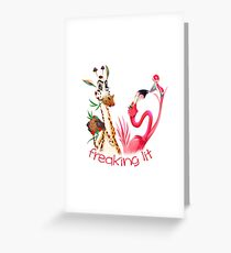 Party Time Freaking Lit Giraffe and Flamingo  Greeting Card