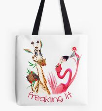 Party Time Freaking Lit Giraffe and Flamingo  Tote Bag