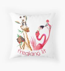 Party Time Freaking Lit Giraffe and Flamingo  Throw Pillow