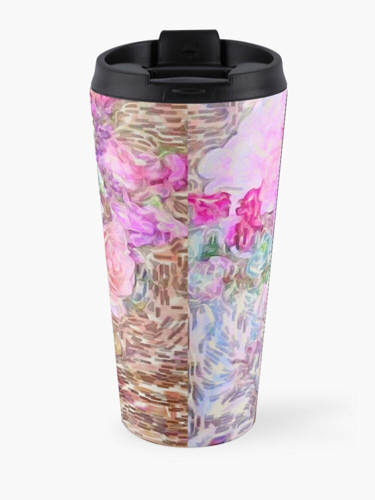 Alternate view of shabby chic painted, peonies, roses,shabby chic, painted, roses, floral,flowers,vintage,victorian,belle epoque,girly,soft,feminine,modern,trendy Travel Mug