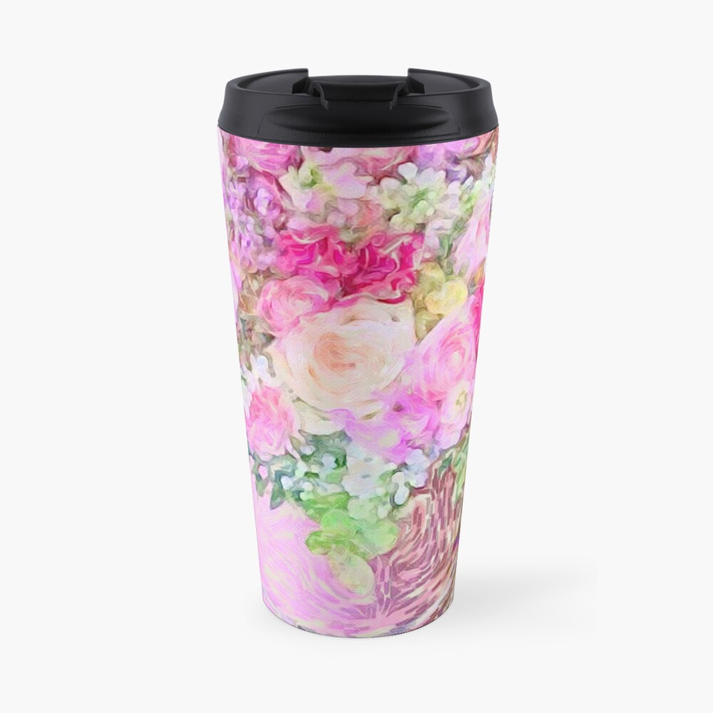 shabby chic painted, peonies, roses,shabby chic, painted, roses, floral,flowers,vintage,victorian,belle epoque,girly,soft,feminine,modern,trendy Travel Mug