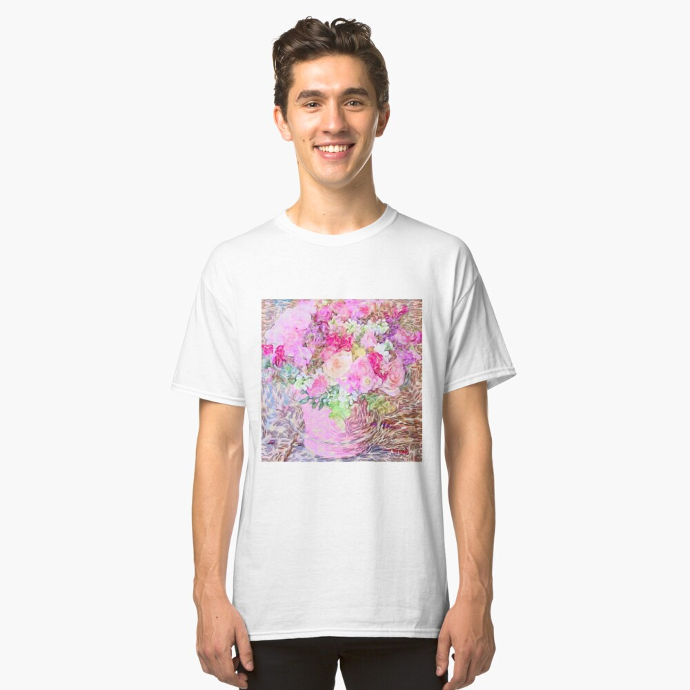shabby chic painted, peonies, roses,shabby chic, painted, roses, floral,flowers,vintage,victorian,belle epoque,girly,soft,feminine,modern,trendy Classic T-Shirt