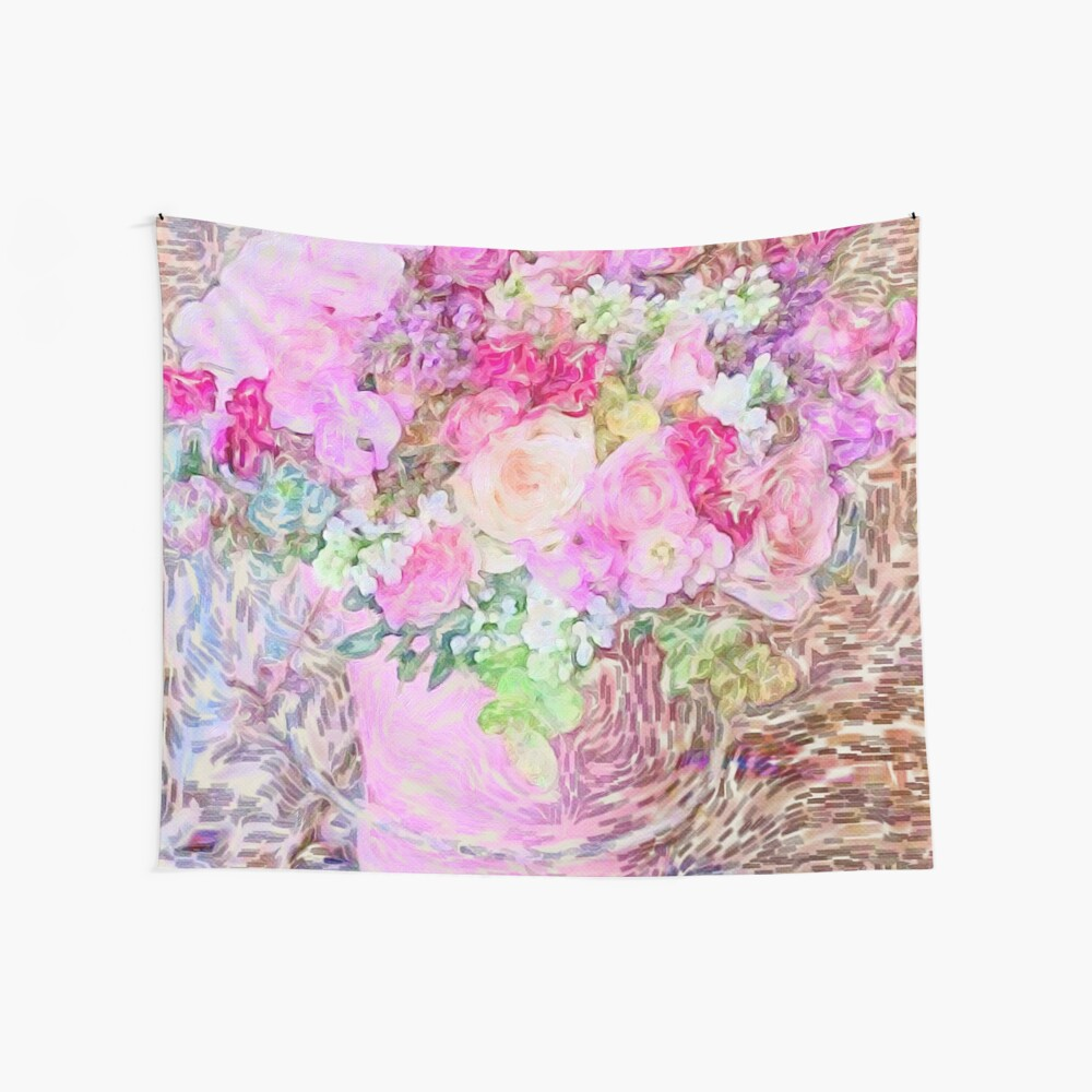 shabby chic painted, peonies, roses,shabby chic, painted, roses, floral,flowers,vintage,victorian,belle epoque,girly,soft,feminine,modern,trendy Wall Tapestry