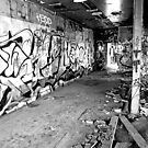 Abandoned Graffiti Building B&W by Robert Goulet