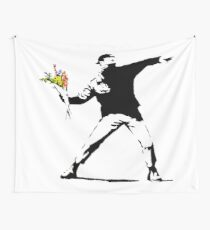banksy man holding flowers Wall Tapestry