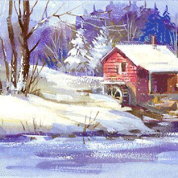Country Mill Winter Landscape Scene by Digitalbcon