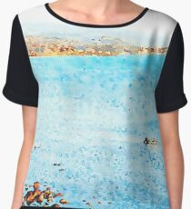 Seascape with boat Chiffon Top
