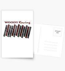Woody Racing Bike + Car Postcards