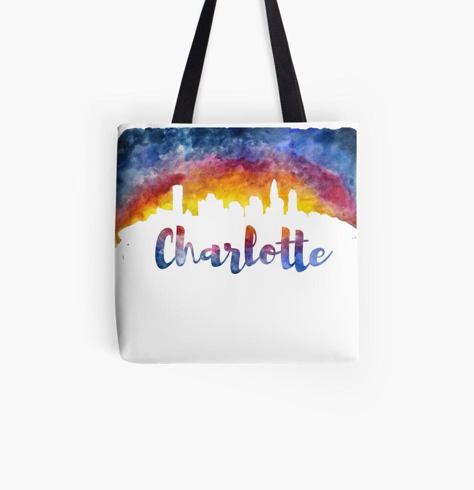Charlotte Cityscape - Reverse Silhouette  All Over Print Tote Bag