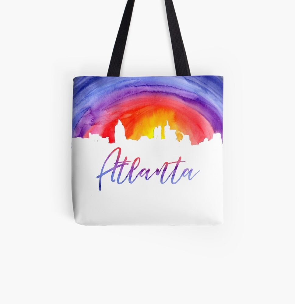 Atlanta Cityscape - Reverse Silhouette All Over Print Tote Bag