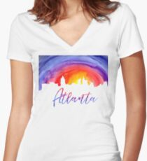 Atlanta Cityscape - Reverse Silhouette Women's Fitted V-Neck T-Shirt
