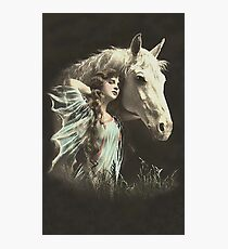 Vintage *Beauty whith her White Horse* Photographic Print