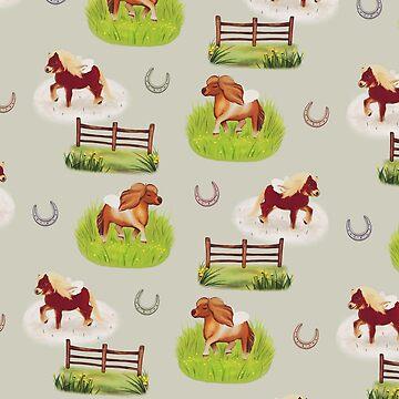 Shetland Ponies by minniemorrisart