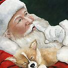 Pembroke Welsh Corgi and Santa Claus by Charlotte Yealey