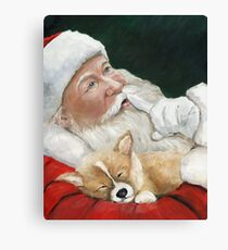 Pembroke Welsh Corgi and Santa Claus Canvas Print