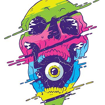 Psychedelic Skull Vaporwave With Eye Ball by ZippyThread