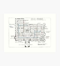 Hill House blueprint with Forever House repeated dozens of times Art Print