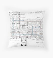 Hill House blueprint with Forever House repeated dozens of times Floor Pillow