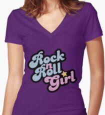 Camiseta entallada de cuello en V Rock n 'Roll Girl