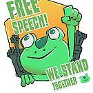 Funny free speech protest frog  by josefomalatrova
