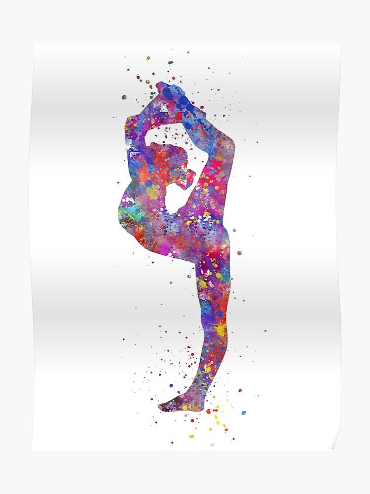 6a1d6aaea59 Gymnastics girl, watercolor gymnastics, teen gift, gymnastics wall art  Poster
