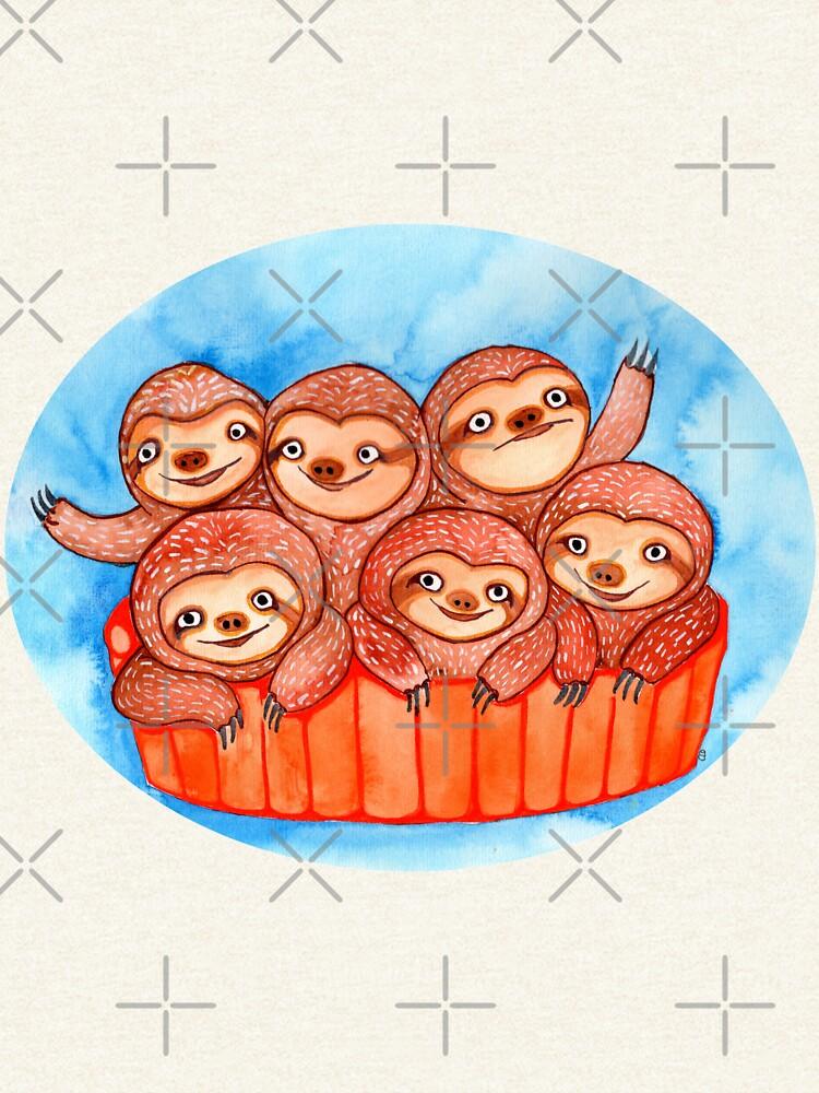 Watercolor Art   Bucketful of Sloths by coloringiship