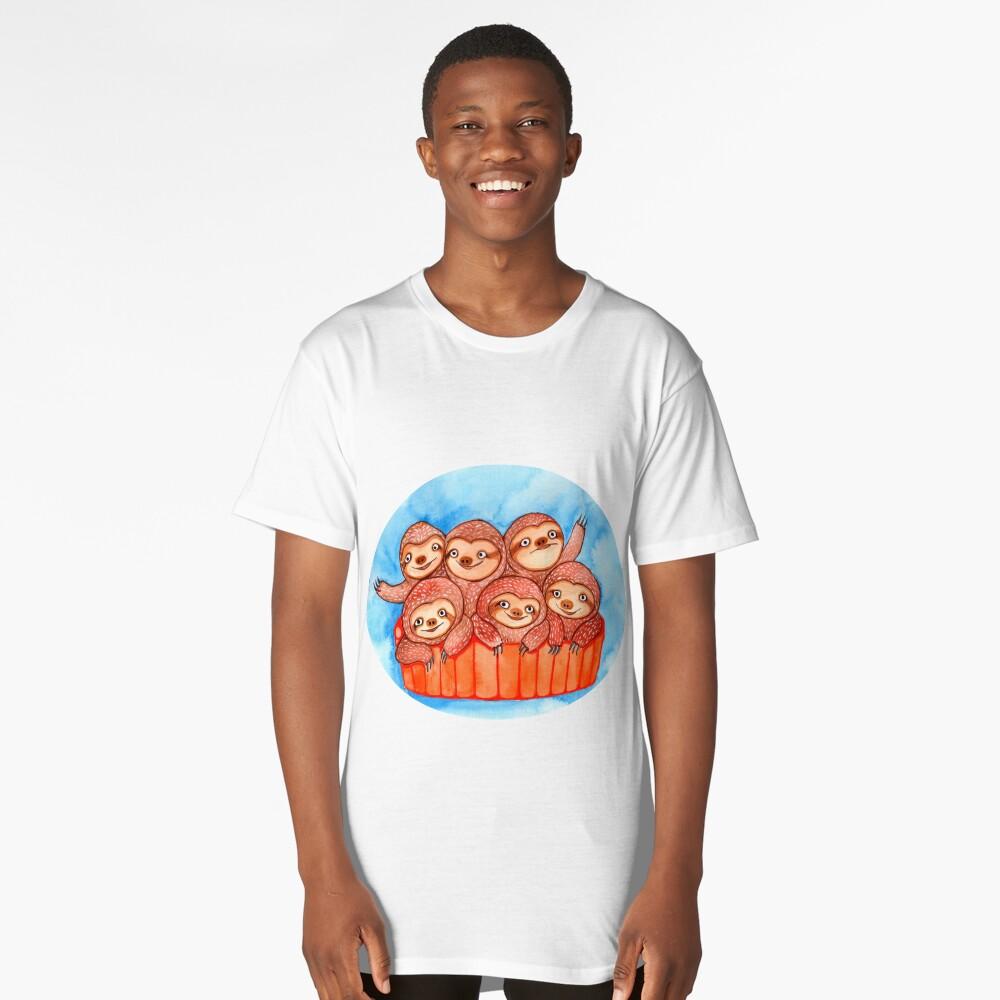 Watercolor Art   Bucketful of Sloths Long T-Shirt Front