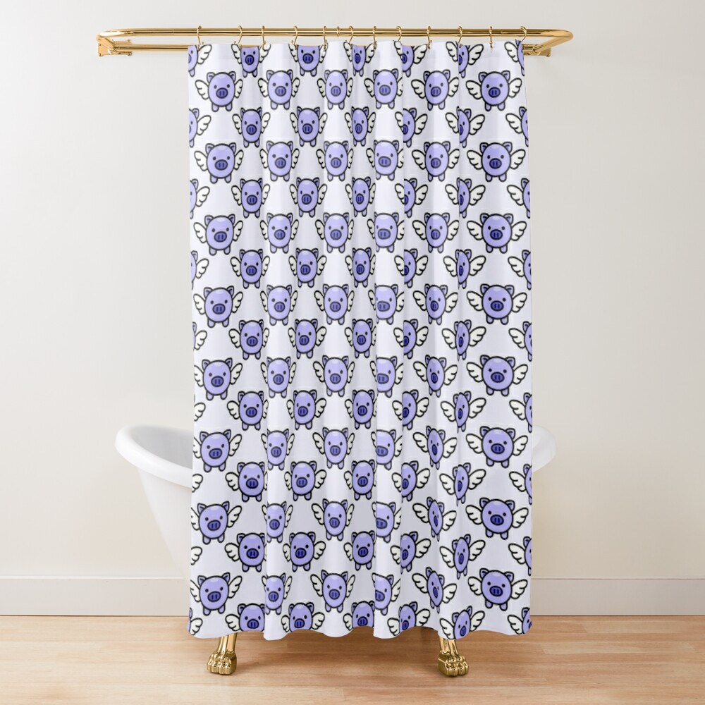 When Pigs Fly: Blue Shower Curtain