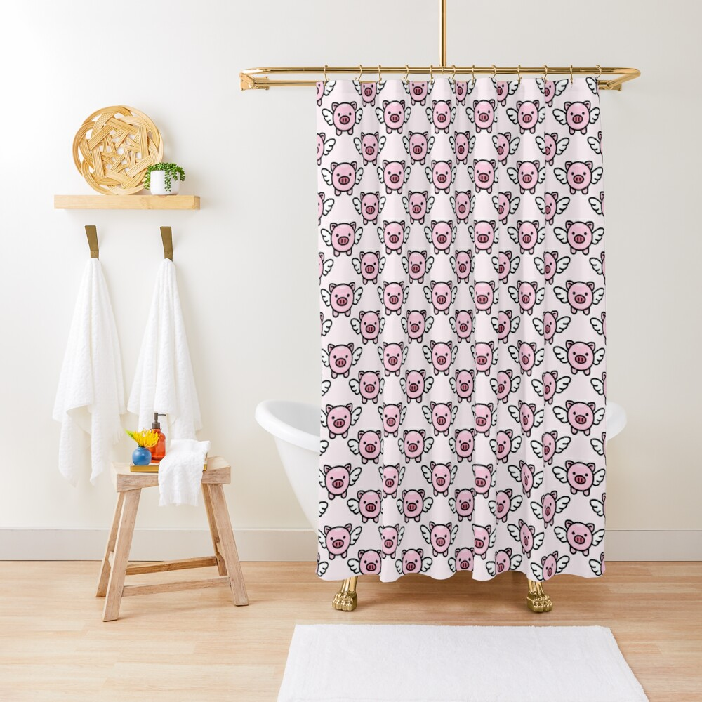 When Pigs Fly: Pink Shower Curtain
