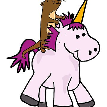 Cute Sea Otter Riding Unicorn Cartoon by naturesfancy