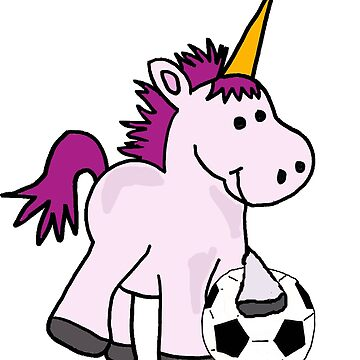 Cute Baby Unicorn Playing Soccer or Football by naturesfancy