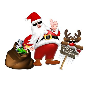 Cool Santa Claus and reindeer with sunglasses by Sal71