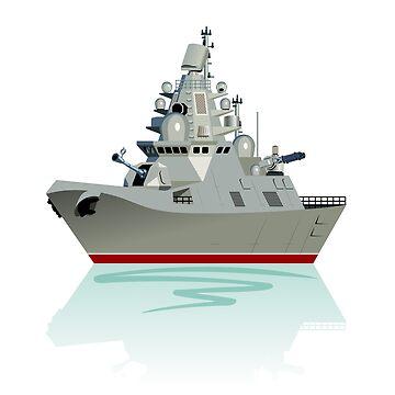 Cartoon modern military frigate by Mechanick