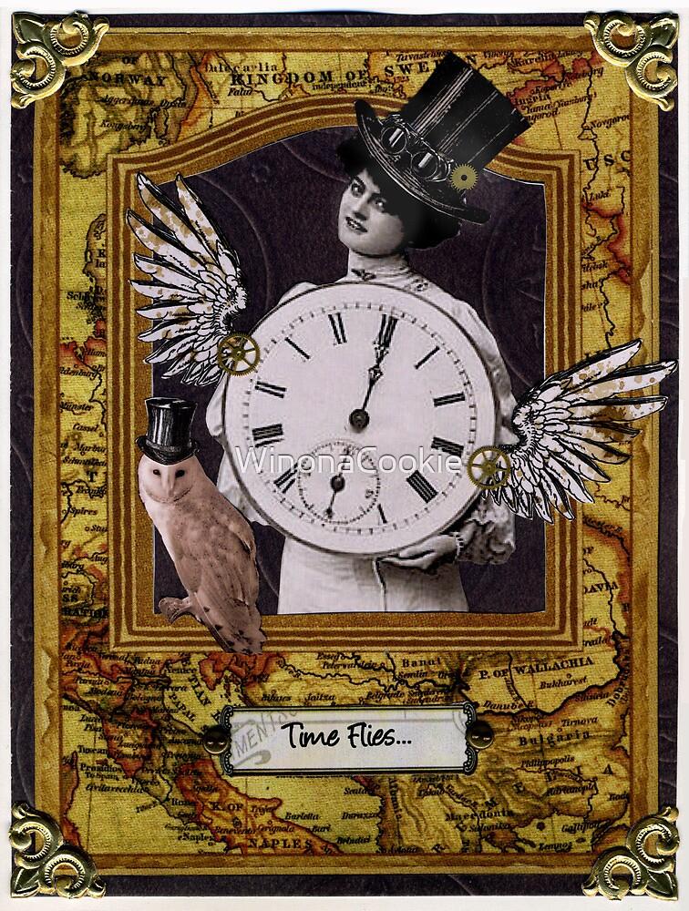 Time Flies Steampunk Birthday Card by WinonaCookie