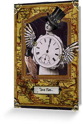 Time Flies Steampunk Birthday Card by WinonaCookie