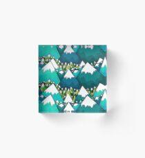 Winter peaks and woods Acrylic Block