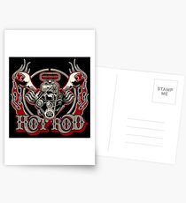 Cartoon Turbo Engine with vintage lettering poster Postcards