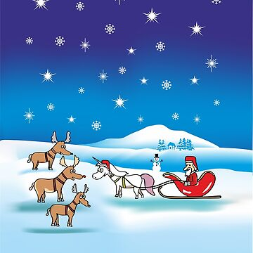 Christmas Unicorn by claudiasartwork