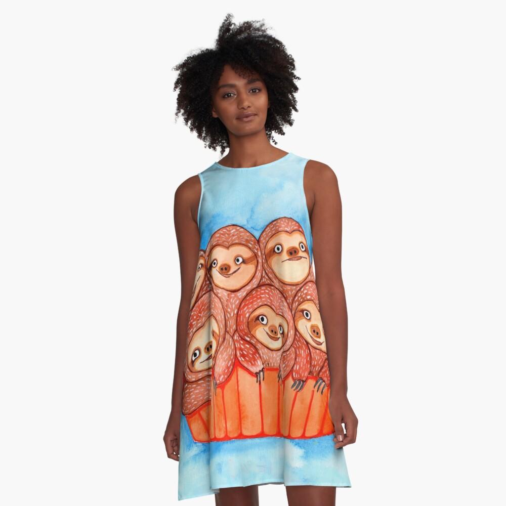 Watercolor Art | Bucketful of Sloths A-Line Dress Front