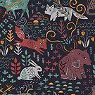 Siberian wildlife. Animals of Yakutia. Bear, fox, rabbit, deer, sable and chipmunk. by Anna Alekseeva