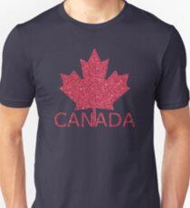 Distressed Canada Flag Maple Leaf In Red Glitter Shirt Gear Unisex T-Shirt