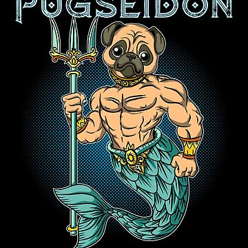 Pugseidon Pug as Sea God Funny Monster by javaneka