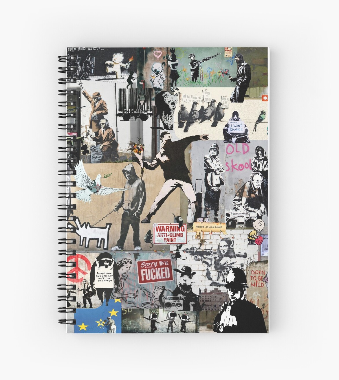 Banksy Collage Fine Art Poster Print in Canvas or Paper Card