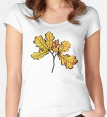 Oak Leaves Autumnal Botanical Art Women's Fitted Scoop T-Shirt