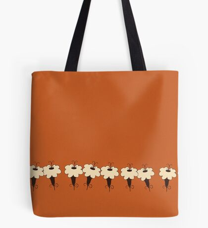 Yellow Flowers on burnt orange Tote Bag