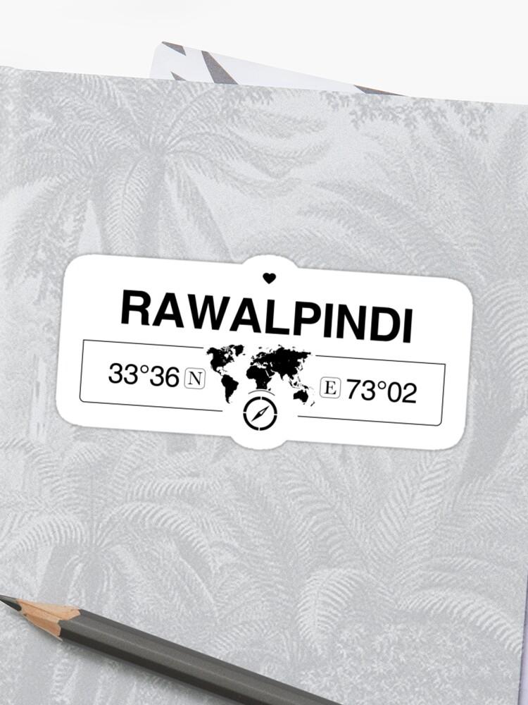 Rawalpindi Punjab with World Map Coordinates GPS and Compass   Sticker
