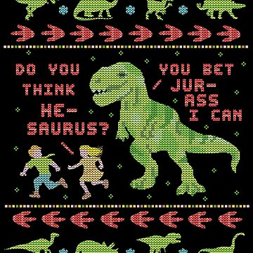 Funny Ugly Christmas Sweater | T Rex Dinosaur Pun by emkayhess